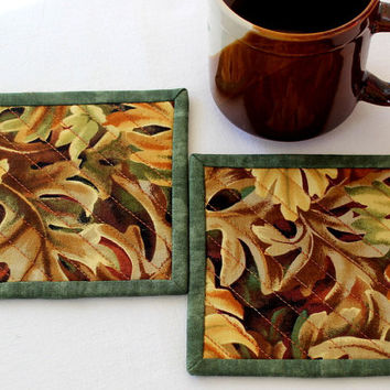 Quilted Coasters - Fall Coasters - Autumn Leaves - Fabric Coasters - Thanksgiving - Set of 2 Coasters