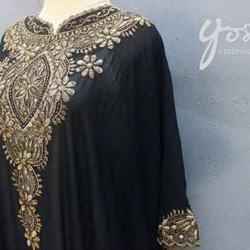 Petite Black Caftan Dress Chiffon Wedding Summer Party Kaftan Embroidery Dress