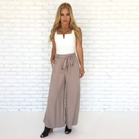 Tuscany Wide Leg High Waist Pants in Taupe