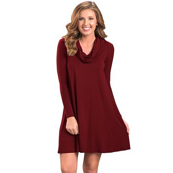 Chicloth Red Cowl Neck Long Sleeve Casual Loose Swing Dress