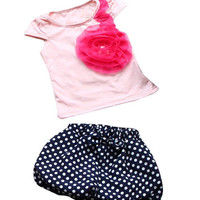 Girls Summer 2pc Set Flower + Dotted Shorts