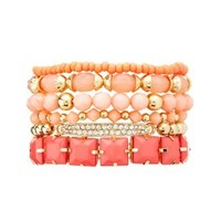 Faceted Stone & Bead Stretch Bracelets - 6 Pack - Coral