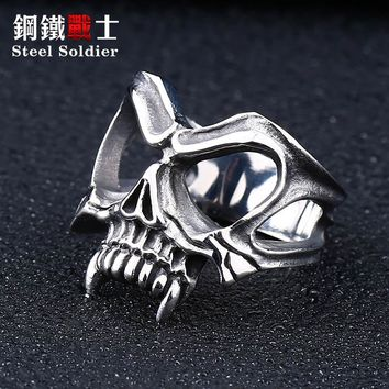 steel soldier drop shipping mask fashion ring stainless steel movie Twilight vampire men jewelry
