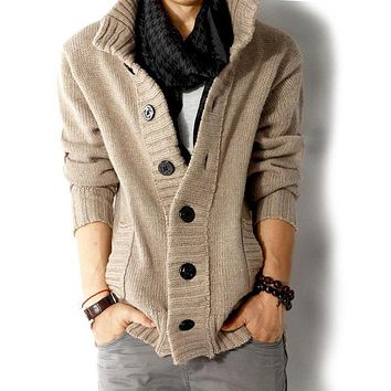 Mens wool cardigan sweaters men's thick stand collar pullover