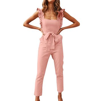 Womail Women 2019 Sexy Linen Shirred Frill Sleeves Pocket Jumpsuit Ladie Belte Summer Holiday Party Pink belt Jumpsuit W30425