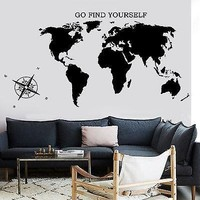 Wall Decal Map Of The World Atlas Compass Quote Go Find Yourself Unique Gift (z2839)