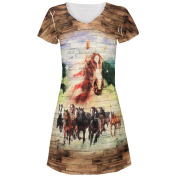 4th of July Wild Horse Mustang Patriot All Over Juniors V-Neck Dress
