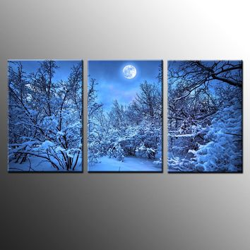 3 Pieces Winter Snow Tree Moonlight Scene Landscape Wall Art Canvas Panel Print