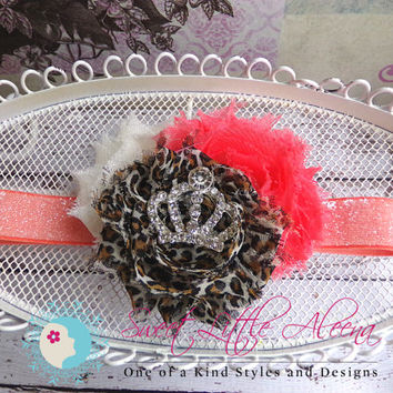 Cheetah Headband - Coral Leopard Headband - Princess Jewel Bow - Flower Clip - baby headbands - newborn photo prop