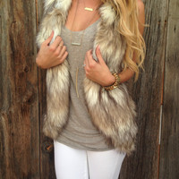 Ash Brown Faux Fur Vest - FINAL SALE