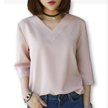 2016 Summer Tops V-neck Chiffon Blouse Shirt Women Office Ladies Top Work Shirts Clothing Korean Plus size S-XL White Blue Pink