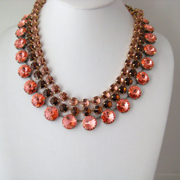 Swarovski Rose Peach Crystal Rivoli Rhinestone  Necklace, Anna Wintour Inspired, 14mm Big Stones Necklace Layering Necklace, FREE US Ship
