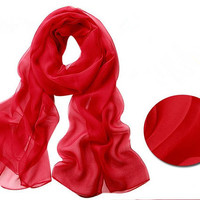 Red scarf. Long chiffon scarf. Accessories Scarf  Women rockabilly Chiffon shawl wrap scarf