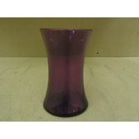 Designer Vase Decorative 8in H x 4 1/2in D Purple Modern Round Curved Glass -- New