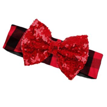 Red Plaid Headband Black Buffalo Red Sequin Bow
