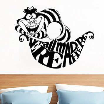 We're All Mad Here Wall Decals Quote Alice In Wonderland Decal Cheshire Cat Smile Sticker Quotes Kids Bedroom Nursery Home Decor Art Mural SM60