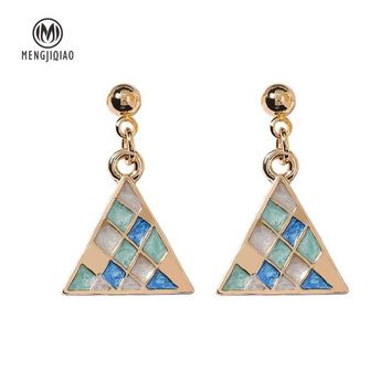 MENGJIQIAO 2018 New Simple Geometric Triangle Square Drop Earrings For Women Colorful Lattice Vintage Fashion Boucle D'oreille