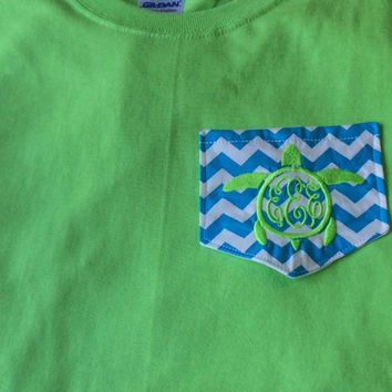 Monogrammed Turtle Chevron Pocket Tee-Mother's Day - Graduation gift