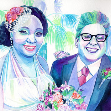 Custom gift for LESBIAN COUPLE watercolor PORTRAIT - Gay Marriage Wedding Anniversary