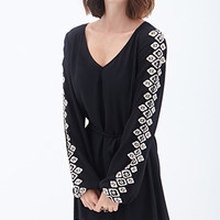 LOVE 21 Geo Dazzle Shift Dress Black/Ivory