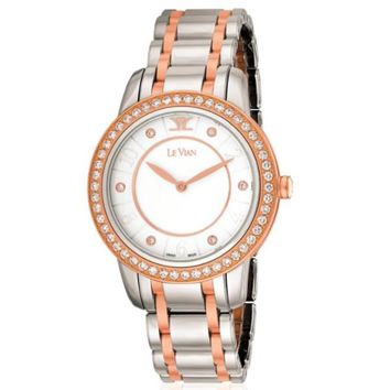 Le Vian Stainless Steel and Strawberry Colored Diamond Trim Watch
