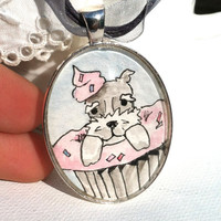 Custom made Pet portrait art pendant, hand painted from YOUR PHOTO of your pet in an adorable cupcake pendant necklace