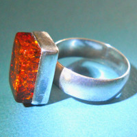 Vintage Sterling Silver Amber Ring Cubic Form sz 6.5