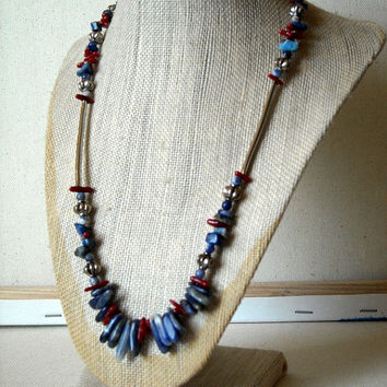 Blue Sodalite Necklace,Beaded Necklace,Coral Necklace,blue stone necklace,Southwestern jewelry