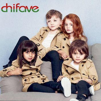 chifave Spring Autumn Unisex Trench Coat Windbreaker Double Breasted Baby Girls Clothes Baby Boys Coat Classic Kids Girls Boys