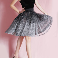 Tutu tulle dots / mini /Beautiful black and white and silver dots /little black  strapless dress