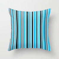 Candy Stripe Blue Throw Pillow by Alice Gosling
