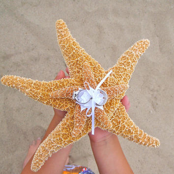 Beach Wedding Starfish Ring Bearer Pillow Alternative w/ Green & White Ribbon or Custom Color(s) - Destination Eco Green Wedding