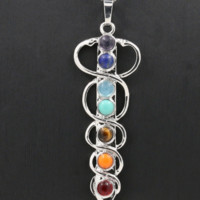 Stone Pendant Necklace Representing 7 Chakras; Energy Stones, Platinum Plated Chain