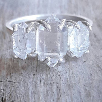 Three Stone Herkimer Diamond and Sterling Silver Ring - Anniversary Ring - Crystal Engagement Ring - Past Present Future - Rough Stone Ring