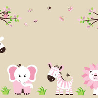 "Girls Nursery Wall Decal, Pink Animal Baby Room Stickers, Pink Themed for Girls, Girls Safari Wall Decals, Nursery Wall Decals - 67"" x 106"""