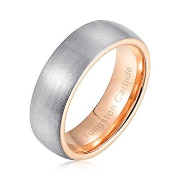 7mm Domed Rose Gold Tungsten Carbide Wedding Band Ring Brushed (Platinum 14k, 18k Rose Gold)