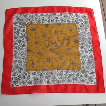 Red White floral scarf,  Birthday gift for Coworker, Red square paisley Scarf, Yellow Red Paisley Scarf, Chemo scarf, Summer head scarves