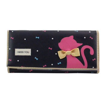 New Fashion Cartoon Women Wallets PU Leather Long Wallet Cute Cat Bowknot Ladies Burse Card Holder Coin Purse Note Compartment