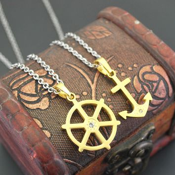 Navy Anchor Couples Pendant Necklace