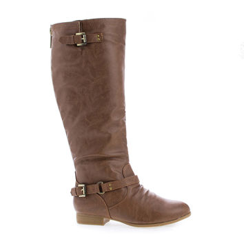 Coco1 Tan PU Knee High Ankle Harness Zip Up Riding Boots