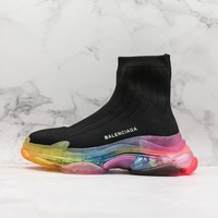 Balenciaga Black Knit Sock Sneakers With Rainbow Clear Sole - Best Online Sale