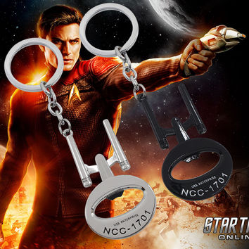 Hot Star Trek Bottle Opener Keychain Star Wars USS Enterprise NCC 1701 Pendant Key Chain Ring Holder Personality Chaveiro