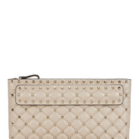 Spike Hand Strap Leather Clutch