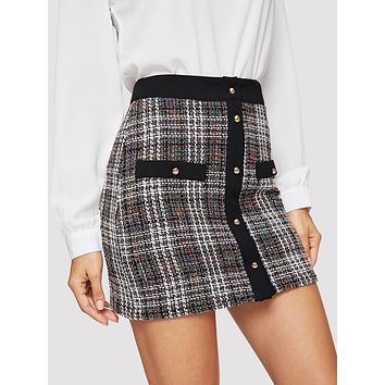Button Up Plaid Tweed Skirt