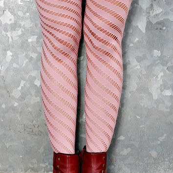 Purple Green Orange, Rose Hand Dyed Diagonal Striped Nylon Stockings Tights Size 10-12