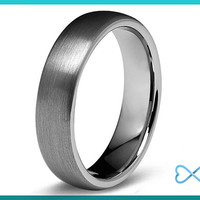 Tungsten Wedding Bands,Mens Ring,Mens Wedding Bands,Tungsten Ring,Rings,Dome Round,6mm,FREE Engraving,Mans,Anniversary,His Hers,Set,Size