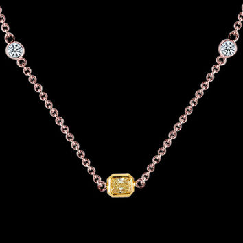 1.6 ct. yellow canary center diamond yards necklace by rose gold pendant radiant