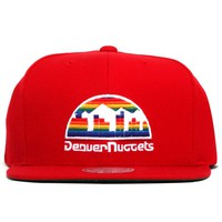 Denver Nuggets Rainbow Logo Wool Solid Snapback Hat Red