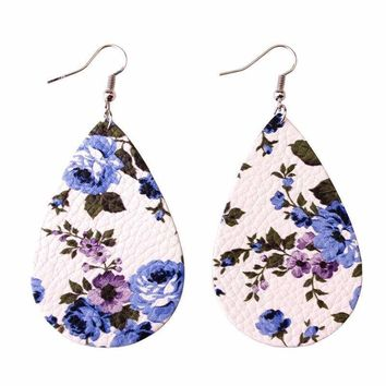 2018 Unique Design Cut Out Rose Floral Print Leather Teardrop Earrings for Women Tear Drops Fit for Everyone