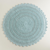 French Blue Woven Round Bath Mat